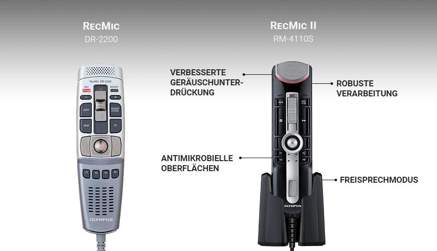 Diktiergerät-Vergleich Olympus RecMic DR 2200 vs. RM 4110S